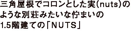 三角屋根でコロンとした実(nuts)の ような別荘みたいな佇まいの 1.5階建ての「NUTS」