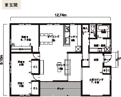 ROOT 7x5-E オプション庇ありプラン 間取り